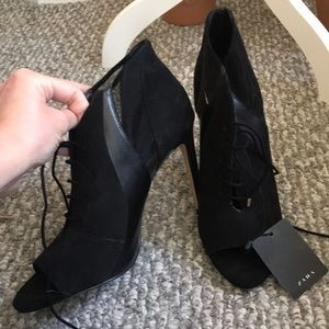Zara lace up peep toe booties with mesh inserts